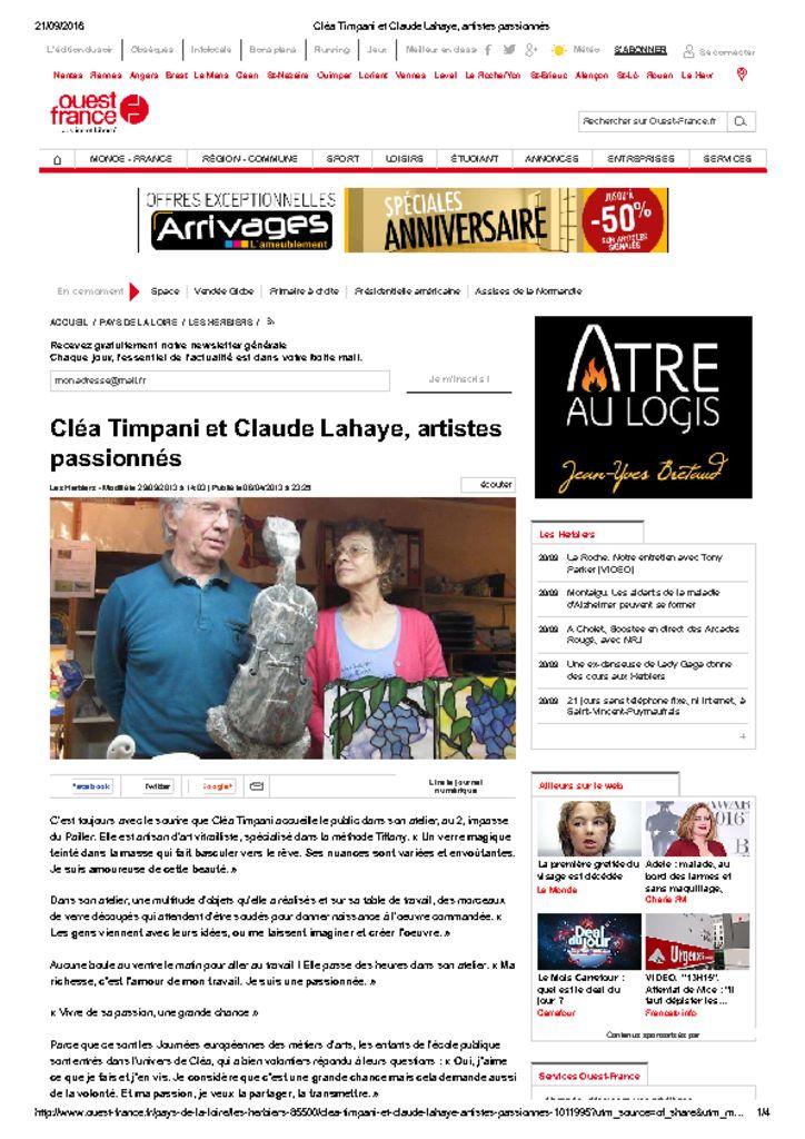 <u>Ouest France</u><br><br>06/04/2013