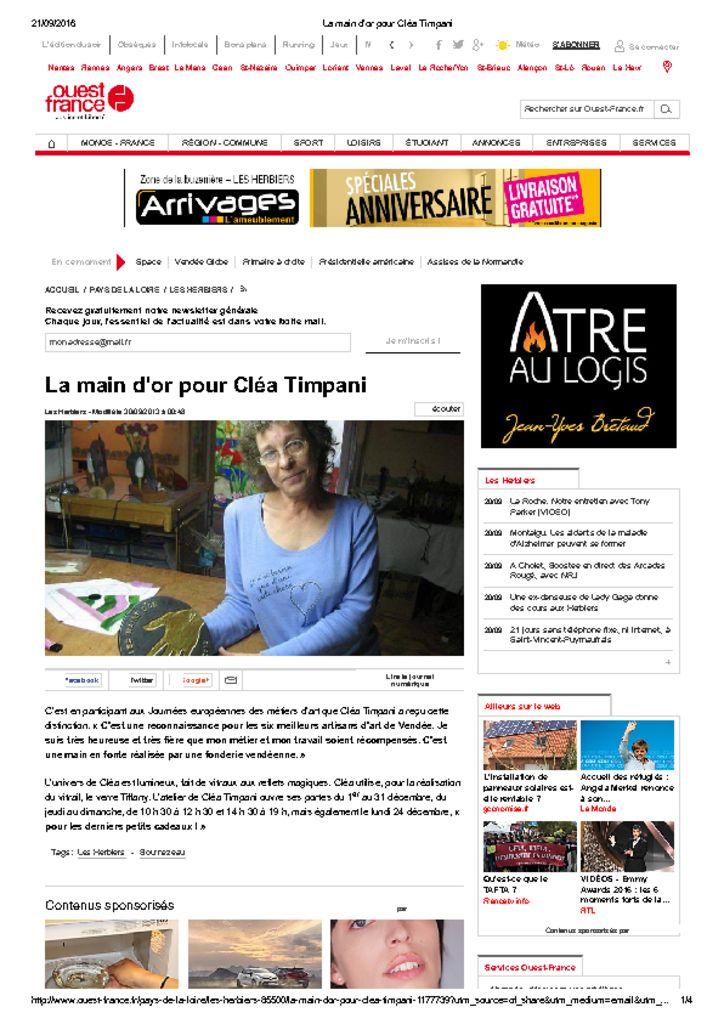 <u>Récompense </u><br><br> La main d or pour Clea Timpani