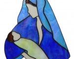 Vierge à l'enfant en verre bleu et turquoise .jpg